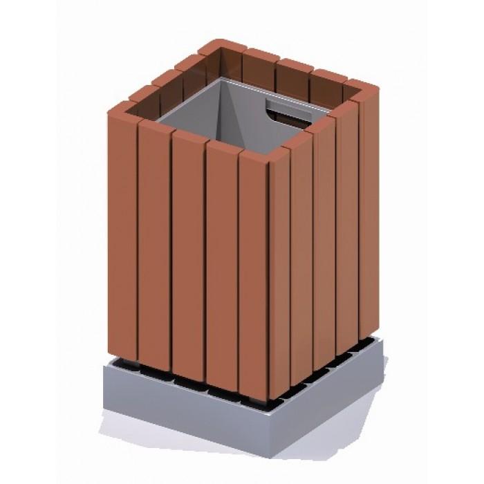 Урна деревянная с металлической вставкой